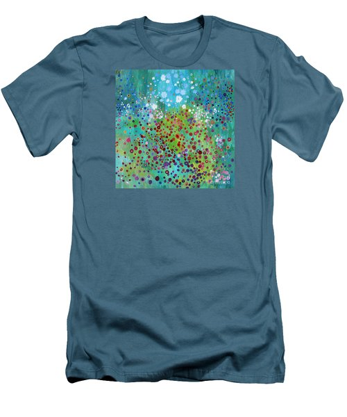 Men's T-Shirt (Slim Fit) featuring the painting Klimt's Garden by Stacey Zimmerman