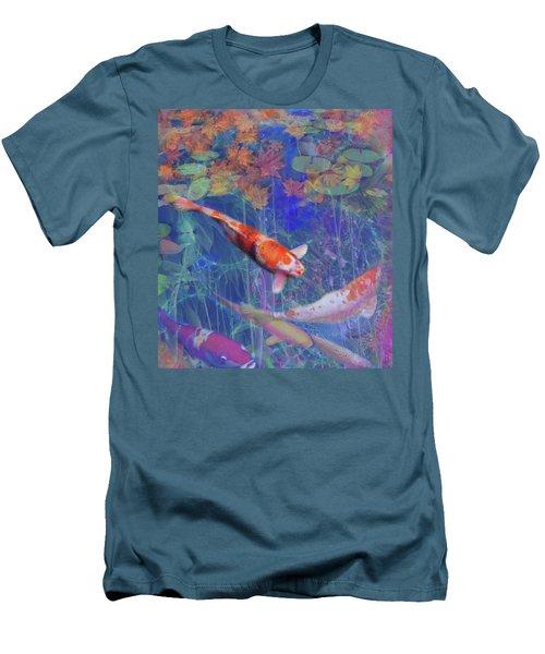 Koi Fish Pond Japanese Tea Garden  Men's T-Shirt (Slim Fit) by Julianne Ososke