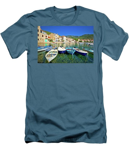 Komiza On Vis Island Turquoise Waterfront Men's T-Shirt (Slim Fit) by Brch Photography