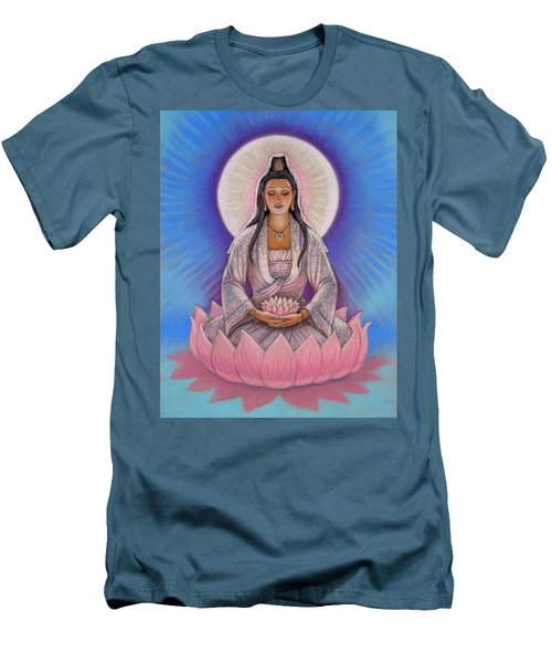Men's T-Shirt (Slim Fit) featuring the painting Kuan Yin by Sue Halstenberg