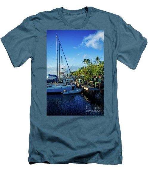 Men's T-Shirt (Slim Fit) featuring the photograph Lahaina Marina Blue Twilight by Sharon Mau
