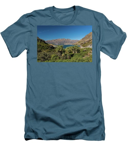 Men's T-Shirt (Athletic Fit) featuring the photograph Lake Hawea Approach, Otago by Gary Eason
