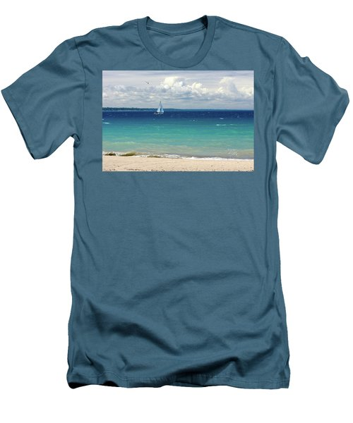 Men's T-Shirt (Slim Fit) featuring the photograph Lake Huron Sailboat by Meta Gatschenberger