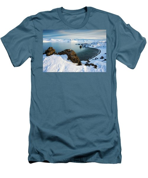 Men's T-Shirt (Athletic Fit) featuring the photograph Lake Kleifarvatn Iceland In Winter by Matthias Hauser