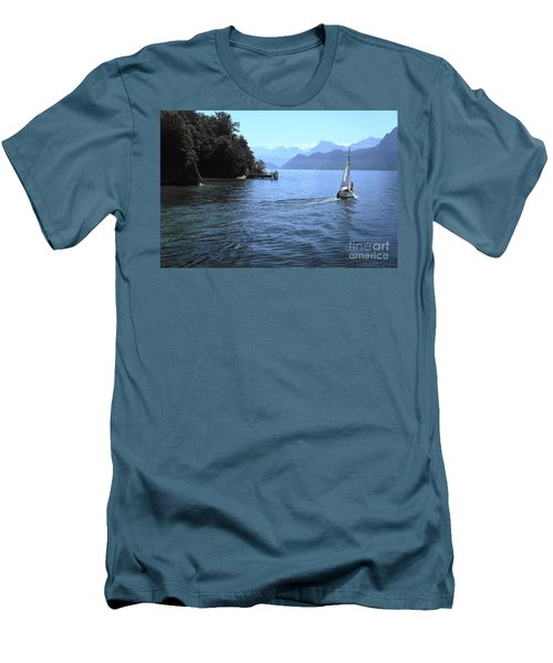 Lake Lucerne Men's T-Shirt (Slim Fit) by Therese Alcorn