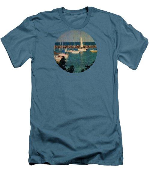 Lake Michigan Sailboats Men's T-Shirt (Slim Fit) by Mary Wolf
