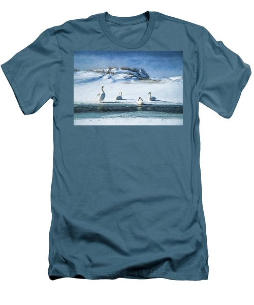 Lake Michigan Swans Men's T-Shirt (Slim Fit) by Dennis Cox WorldViews