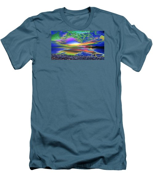 Lake Sunset Abstract Men's T-Shirt (Athletic Fit)