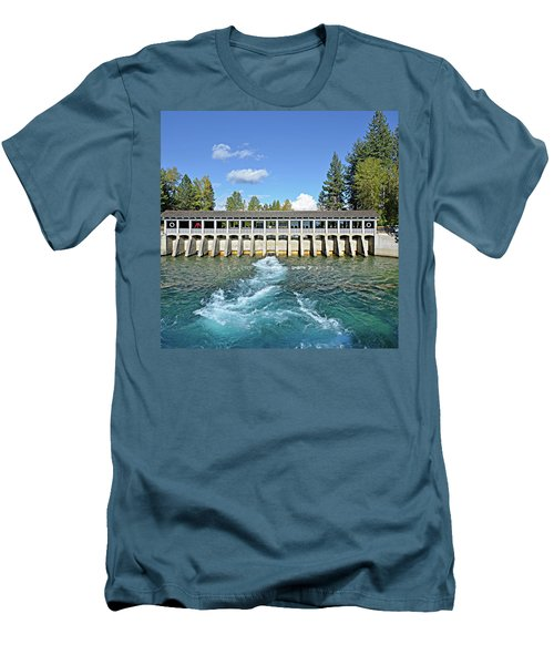Men's T-Shirt (Slim Fit) featuring the photograph Lake Tahoe Dam by David Lawson