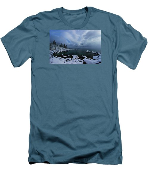 Lake Tahoe Snow Day Men's T-Shirt (Slim Fit) by Sean Sarsfield