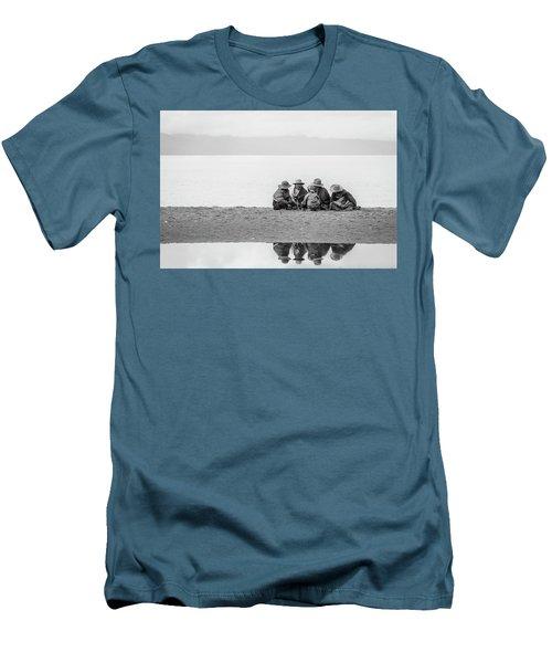 Lakeshore Discussion, Namtso, 2007 Men's T-Shirt (Slim Fit) by Hitendra SINKAR