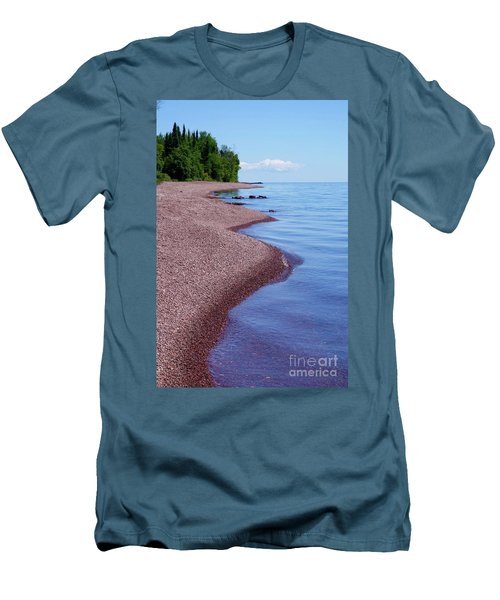 Lakewalk On The Superior Hiking Trail Men's T-Shirt (Slim Fit) by Sandra Updyke