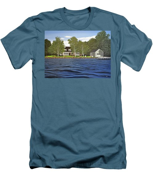 Men's T-Shirt (Slim Fit) featuring the painting Langer Summer Home Lake Simcoe by Kenneth M Kirsch