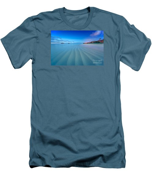 Lanikai Beach Ripples In The Sand Wide Men's T-Shirt (Slim Fit) by Aloha Art