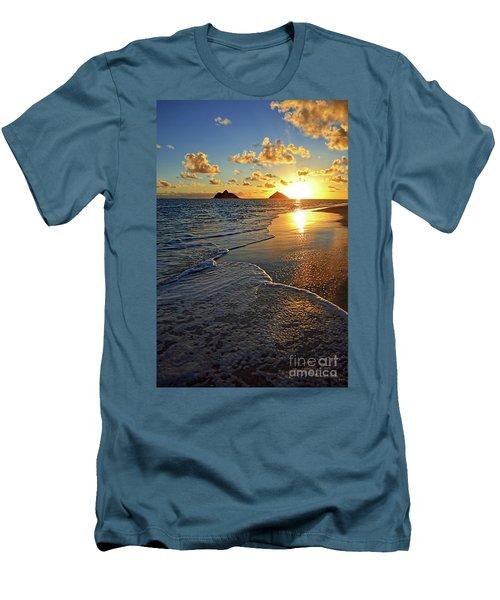 Lanikai Beach Sunrise Foamy Waves Men's T-Shirt (Slim Fit) by Aloha Art