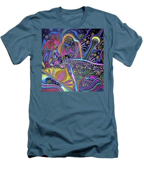 Men's T-Shirt (Slim Fit) featuring the painting Las Vegas by Leon Zernitsky
