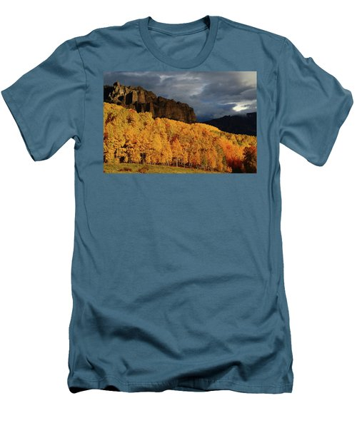 Men's T-Shirt (Slim Fit) featuring the photograph Late Afternoon Light On The Cliffs Near Silver Jack Reservoir In Autumn by Jetson Nguyen