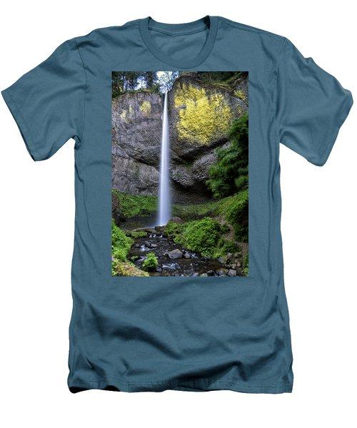 Latourell Water Fall Oregon Dsc05430 Men's T-Shirt (Slim Fit) by Greg Kluempers