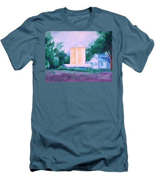 Men's T-Shirt (Slim Fit) featuring the painting Lavender Farm Albuquerque by Eric  Schiabor