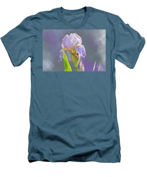 Lavender Iris In The Morning Sun Men's T-Shirt (Slim Fit) by Debra Baldwin
