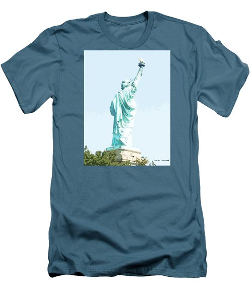 Men's T-Shirt (Slim Fit) featuring the painting Leap Of Liberty by Denise Tomasura