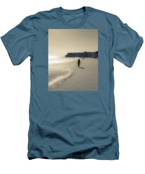 Leave Nothing But Footprints Men's T-Shirt (Slim Fit) by Alex Lapidus