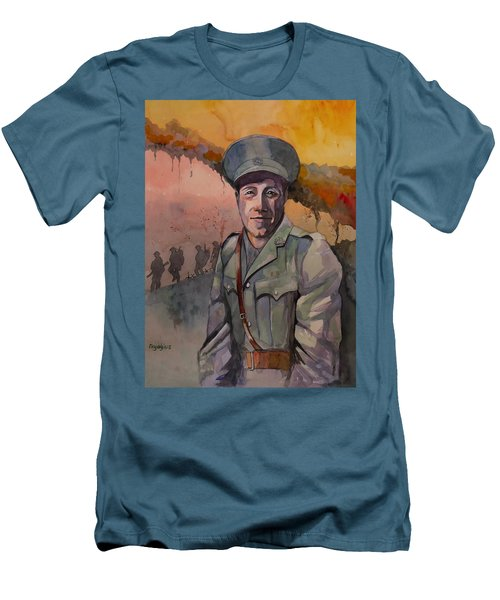 Men's T-Shirt (Slim Fit) featuring the painting Leonard Keysor Vc by Ray Agius