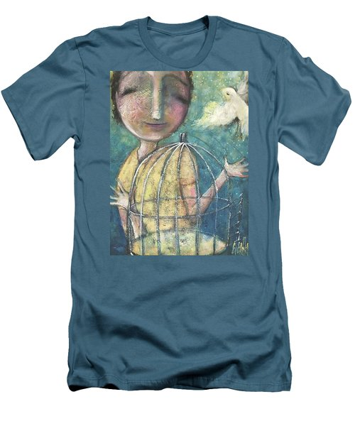 Men's T-Shirt (Slim Fit) featuring the painting Let It Go by Eleatta Diver