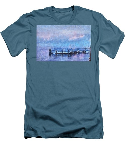 Men's T-Shirt (Slim Fit) featuring the mixed media Lewes Pier by Trish Tritz