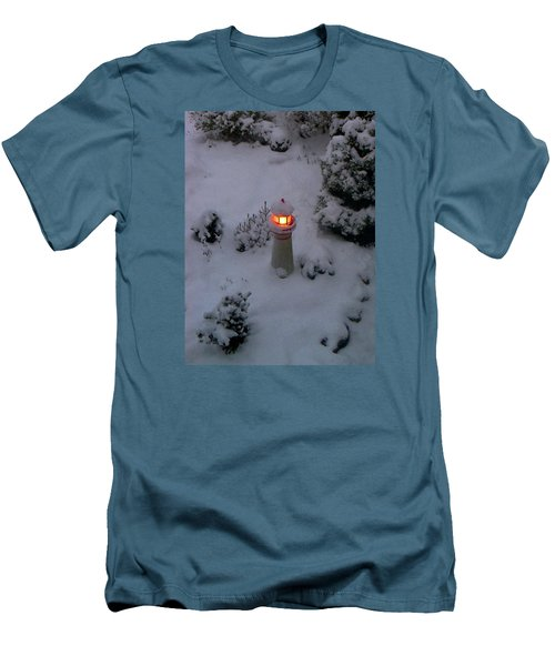 Men's T-Shirt (Slim Fit) featuring the photograph Lighthouse In The Snow by Kathryn Meyer