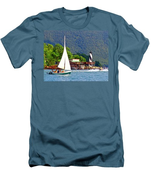 Lighthouse Sailors Smith Mountain Lake Men's T-Shirt (Slim Fit) by The American Shutterbug Society
