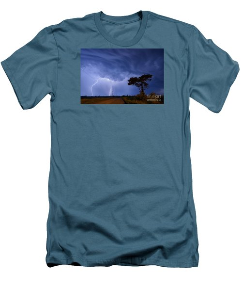 Lightning Storm On A Lonely Country Road Men's T-Shirt (Slim Fit) by Art Whitton