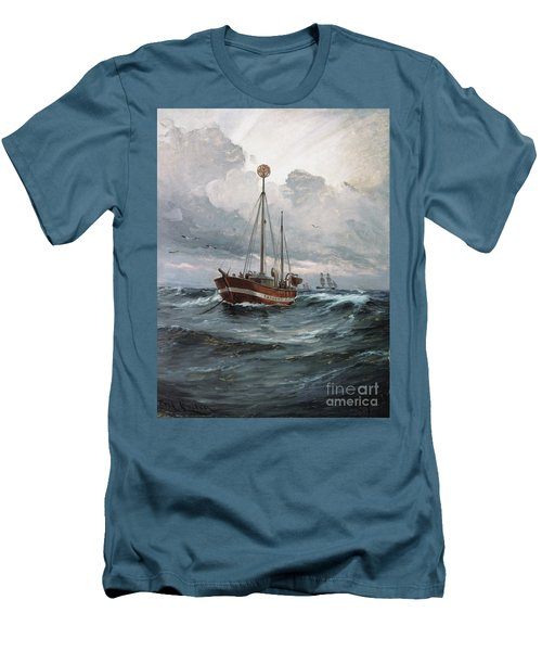 Men's T-Shirt (Slim Fit) featuring the painting Lightship At Skagen Reef by Pg Reproductions