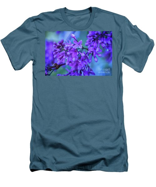 Lilac Blues Men's T-Shirt (Slim Fit) by Elizabeth Dow