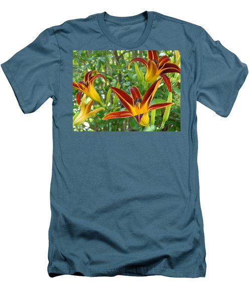 Lilies Sunrise Men's T-Shirt (Slim Fit) by Rebecca Overton