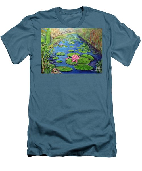 Men's T-Shirt (Slim Fit) featuring the painting Water Lily Canal by Ecinja Art Works