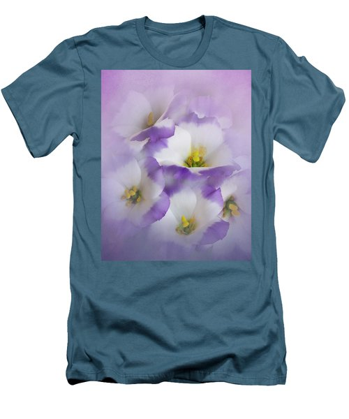 Men's T-Shirt (Slim Fit) featuring the photograph Lisianthus Grouping by David and Carol Kelly