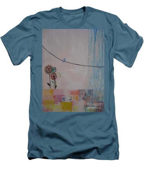 Men's T-Shirt (Slim Fit) featuring the painting Little Birdie by Ashley Price