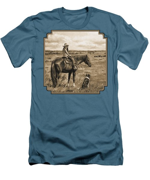 Little Cowgirl On Cattle Horse In Sepia Men's T-Shirt (Athletic Fit)