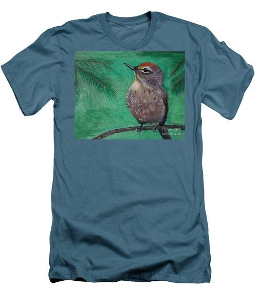 Men's T-Shirt (Slim Fit) featuring the painting Little Warbler by Leslie Allen