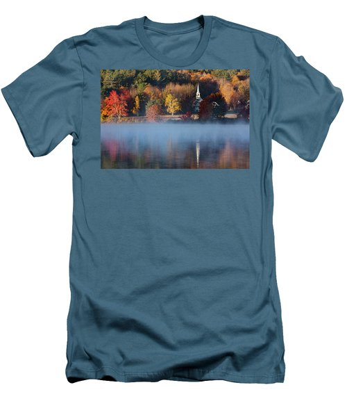 Men's T-Shirt (Athletic Fit) featuring the photograph Little White Church On Crystal Lake by Jeff Folger
