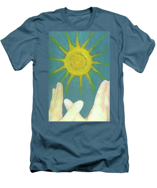 Men's T-Shirt (Slim Fit) featuring the mixed media Live In Light by Desiree Paquette