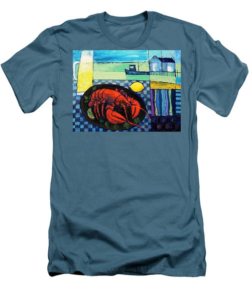 Men's T-Shirt (Slim Fit) featuring the painting Lobster by Mikhail Zarovny