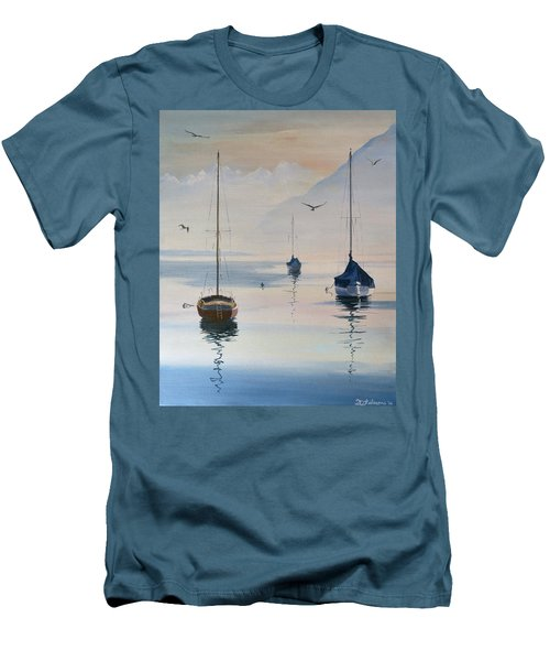 Locarno Boats In February-2 Men's T-Shirt (Slim Fit) by David Gilmore