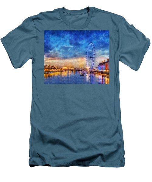 Men's T-Shirt (Slim Fit) featuring the photograph London Eye by Ian Mitchell