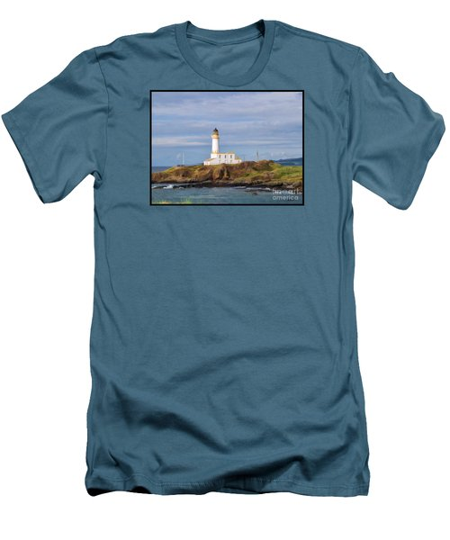 Men's T-Shirt (Slim Fit) featuring the photograph Lone Lighthouse In Scotland by Roberta Byram