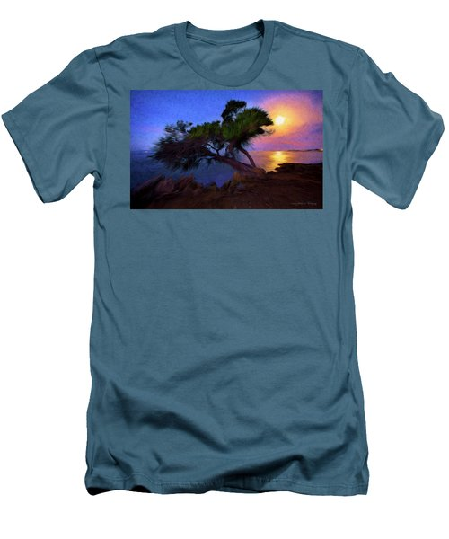 Men's T-Shirt (Slim Fit) featuring the photograph Lone Tree On Pacific Coast Highway At Moonset by John A Rodriguez