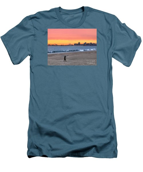 Long Beach From Huntington Beac Men's T-Shirt (Athletic Fit)