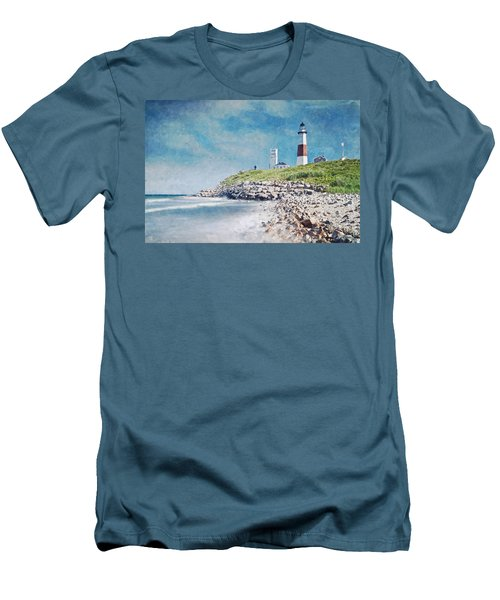 Long Island Lighthouse Men's T-Shirt (Slim Fit) by Kai Saarto