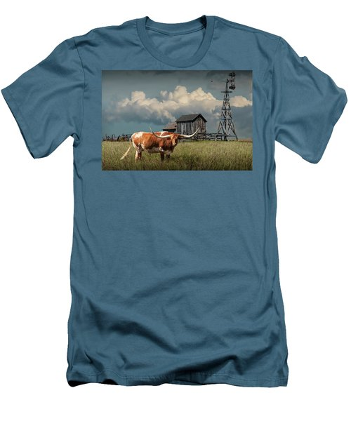 Longhorn Steer In A Prairie Pasture By Windmill And Old Gray Wooden Barn Men's T-Shirt (Slim Fit) by Randall Nyhof